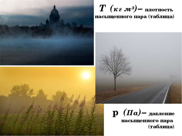 ƍₒ(кг ̸м³)– плотность насыщенного пара (таблица) рₒ(Па)– давление насыщенног...