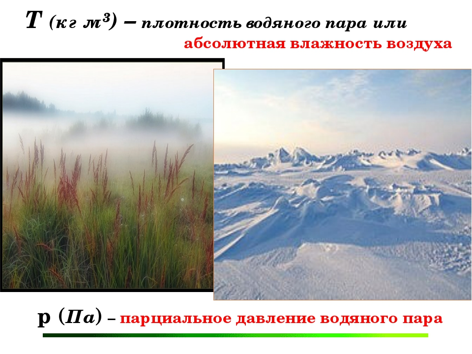 ƍ (кг ̸м³) – плотность водяного пара или абсолютная влажность воздуха р (Па)...