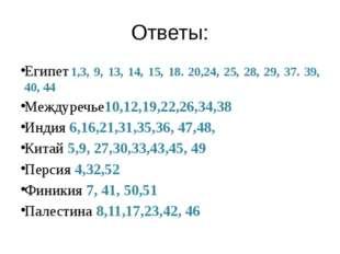 Ответы: Египет 1,3, 9, 13, 14, 15, 18. 20,24, 25, 28, 29, 37. 39, 40, 44 Межд