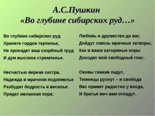 А.С.Пушкин «Во глубине сибирских руд…» Любовь и дружество до вас Дойдут сквоз