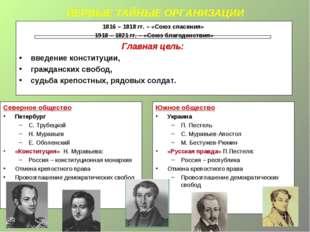 ПЕРВЫЕ ТАЙНЫЕ ОРГАНИЗАЦИИ 1816 – 1818 гг. – «Союз спасения» 1918 – 1821 гг. –