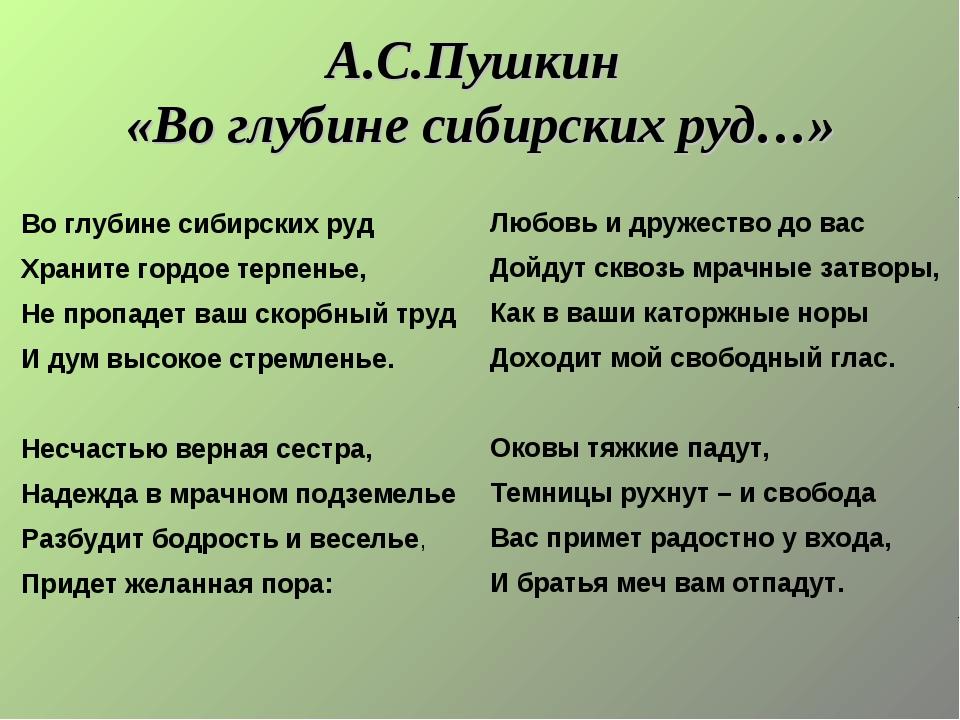 А.С.Пушкин «Во глубине сибирских руд…» Любовь и дружество до вас Дойдут сквоз...
