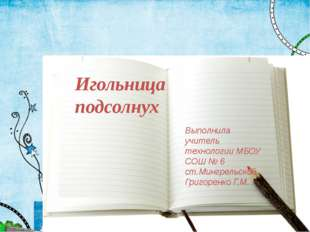 Игольница подсолнух Выполнила учитель технологии МБОУ СОШ № 6 ст.Мингрельской