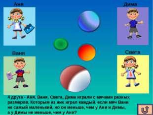 Аня Ваня Света Дима 4 друга - Аня, Ваня, Света, Дима играли с мячами разных р