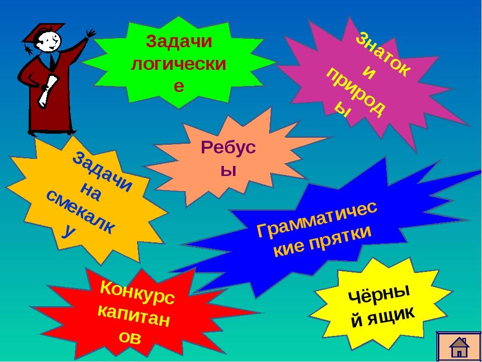 Задачи логические Ребусы Грамматические прятки Задачи на смекалку Знатоки при...