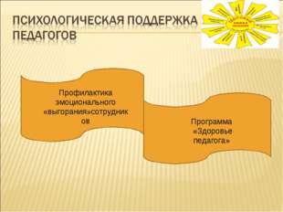 Профилактика эмоционального «выгорания»сотрудников Программа «Здоровье педаго