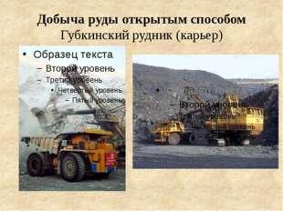Добыча руды открытым способом Губкинский рудник (карьер)