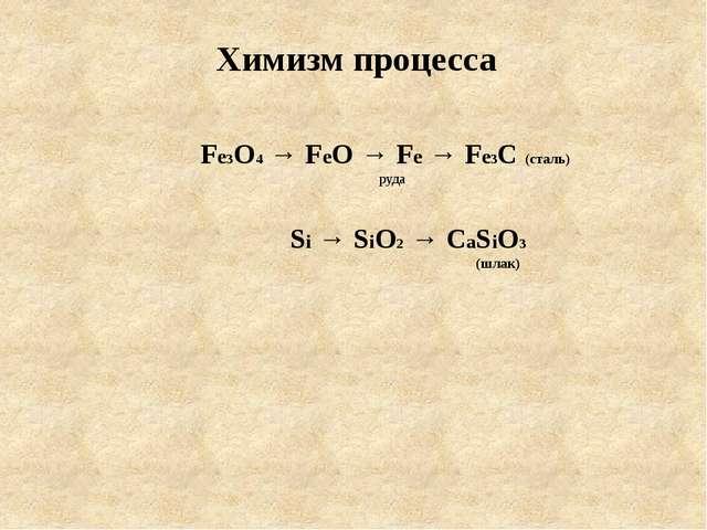 Fe3O4 → FeO → Fe → Fe3C (cталь) руда Si → SiO2 → CaSiO3 (шлак) Химизм процесса