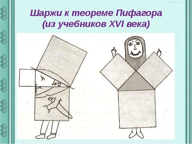 Шаржи к теореме Пифагора (из учебников XVI века)