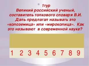 1тур Великий российский ученый, составитель толкового словаря В.И. Даль пред