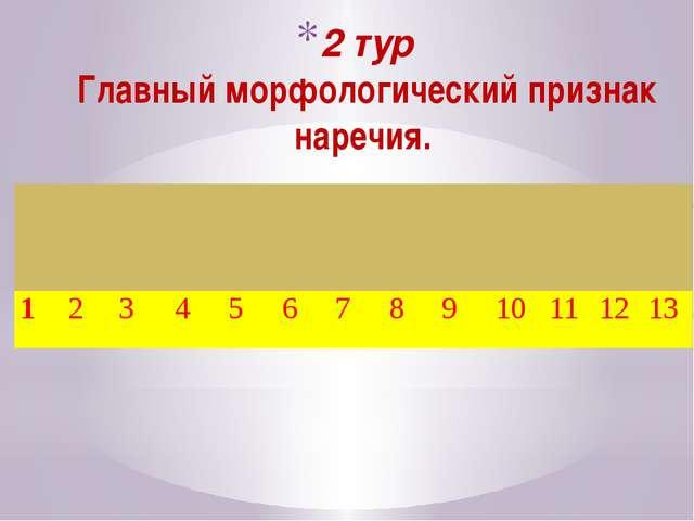 2 тур Главный морфологический признак наречия. 1 2 3 4 5 6 7 8 9 10 11 12 13