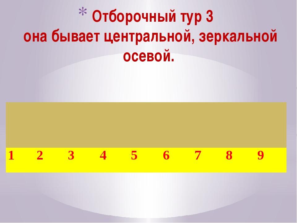 Отборочный тур 3 она бывает центральной, зеркальной осевой. 1 2 3 4 5 6 7 8 9