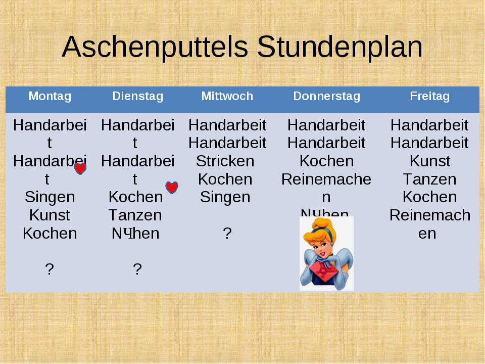Aschenputtels Stundenplan MontagDienstagMittwochDonnerstagFreitag Handarb...