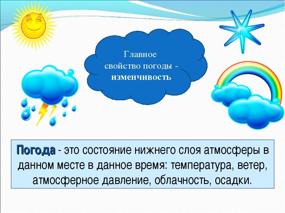 Погода - это состояние нижнего слоя атмосферы в данном месте в данное время:...