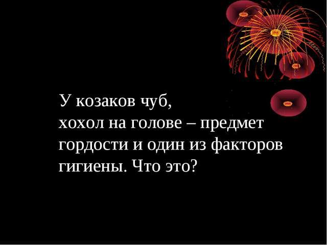 У козаков чуб, хохол на голове – предмет гордости и один из факторов гигиены....