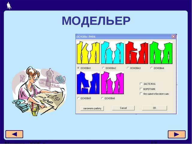 МОДЕЛЬЕР Москва, 2006 г.