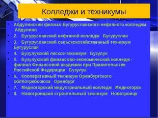 Колледжи и техникумы Абдулинский филиал Бугурусланского нефтяного колледжа Аб