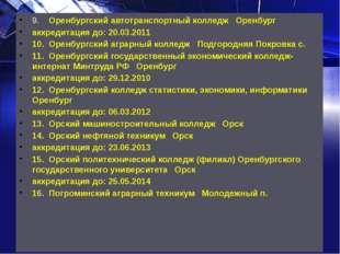 9.Оренбургский автотранспортный колледж Оренбург аккредитация до: 20.03.201