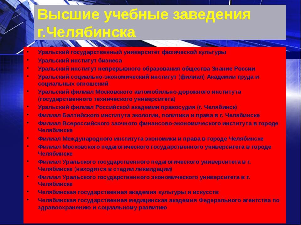 Высшие учебные заведения г.Челябинска Уральский государственный университет ф...