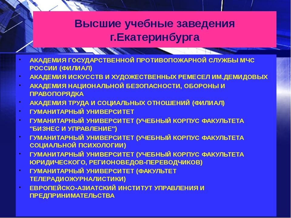 Высшие учебные заведения г.Екатеринбурга АКАДЕМИЯ ГОСУДАРСТВЕННОЙ ПРОТИВОПОЖА...
