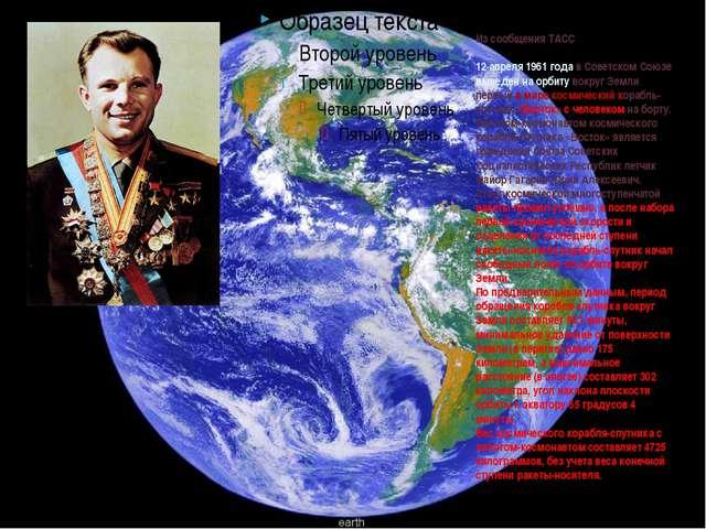 Из сообщения ТАСС 12 апреля 1961 года в Советском Союзе выведен на орбиту во...