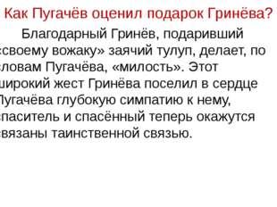 Как Пугачёв оценил подарок Гринёва? Благодарный Гринёв, подаривший «своему