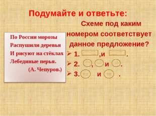 Подумайте и ответьте: Схеме под каким номером соответствует данное предложени