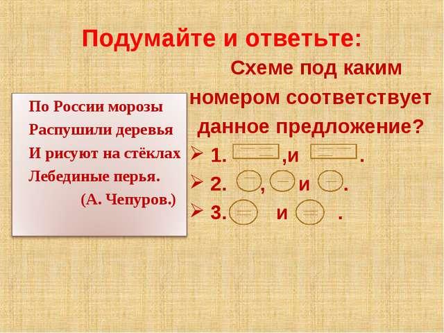 Подумайте и ответьте: Схеме под каким номером соответствует данное предложени...