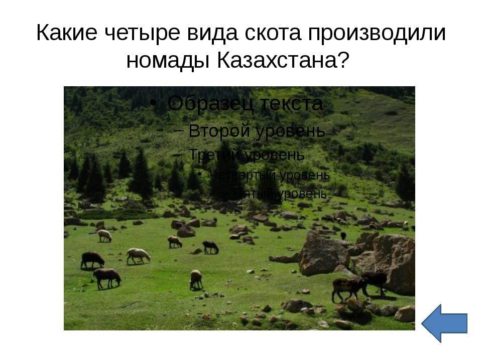 Какие четыре вида скота производили номады Казахстана?