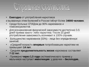 Ежегодно от употребления наркотиков и вызванных этим болезней в России гибнут
