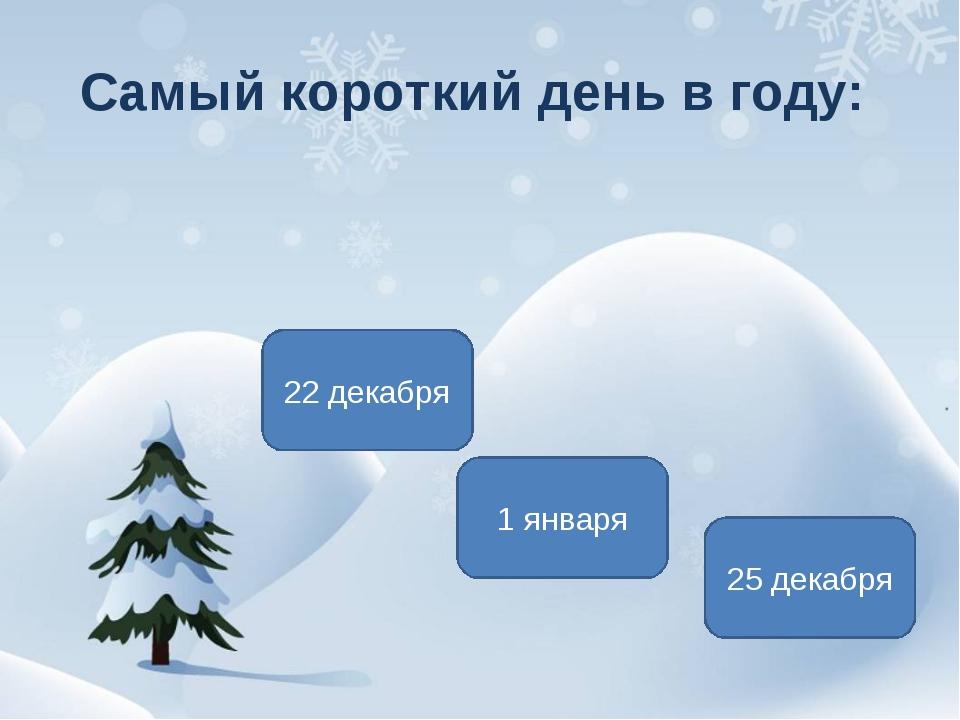 Самый короткий день в году: 22 декабря 1 января 25 декабря