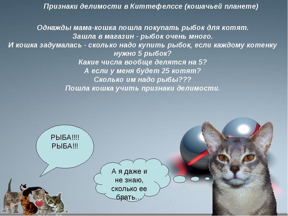 Признаки делимости в Киттефелссе (кошачьей планете) Однажды мама-кошка пошла...