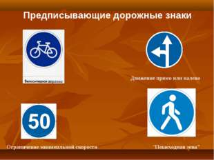 """Предписывающие дорожные знаки """"Пешеходная зона"""" Движение прямо или налево Огр"""