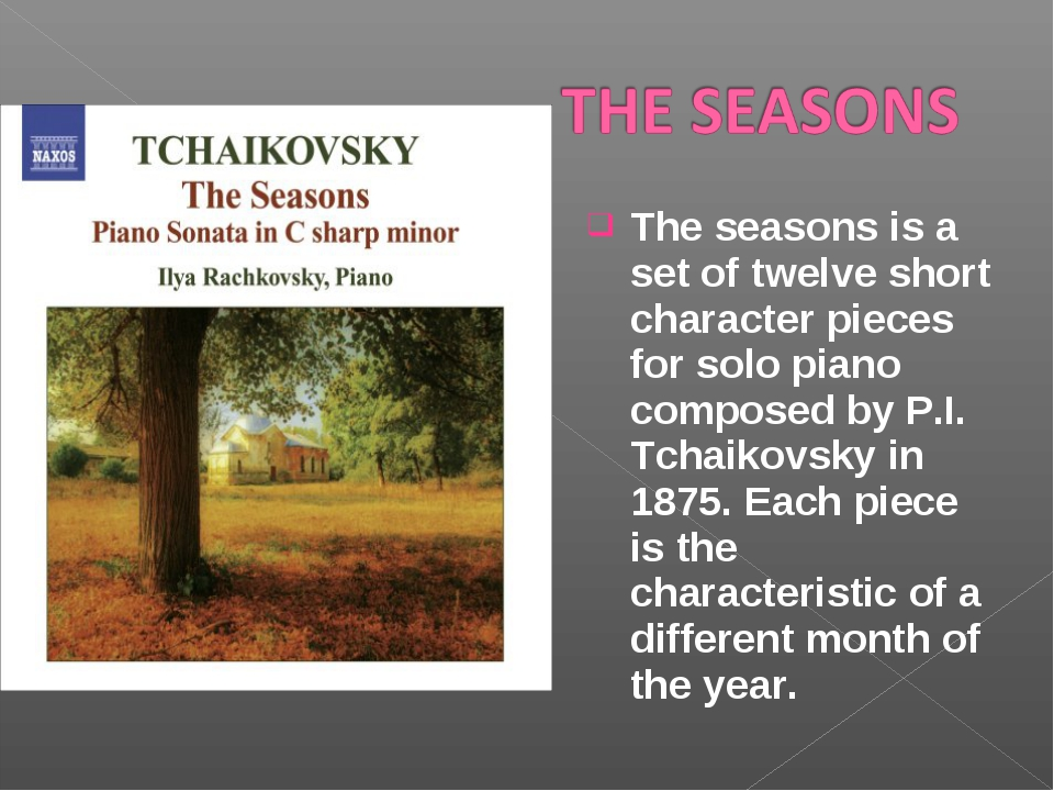 The seasons is a set of twelve short character pieces for solo piano composed...