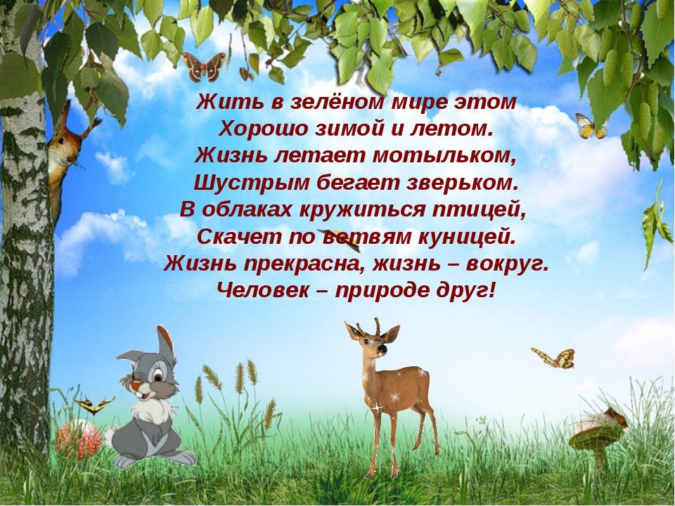 Жить в зелёном мире этом Хорошо зимой и летом. Жизнь летает мотыльком, Шустры...