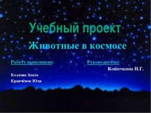 Учебный проект Животные в космосе Работу выполнили: Руководитель: Кошечкина Н