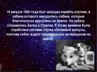 19 августа 1960 года был запущен корабль-спутник, в кабине которого находилис