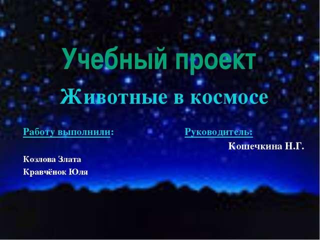 Учебный проект Животные в космосе Работу выполнили: Руководитель: Кошечкина Н...