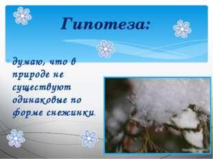 Гипотеза: думаю, что в природе не существуют одинаковые по форме снежинки.