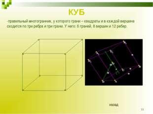 * КУБ -правильный многогранник, у которого грани – квадраты и в каждой вершин