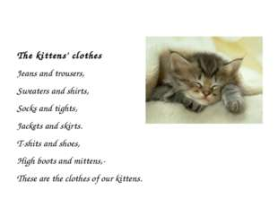 The kittens' clothes Jeans and trousers, Sweaters and shirts, Socks and tigh
