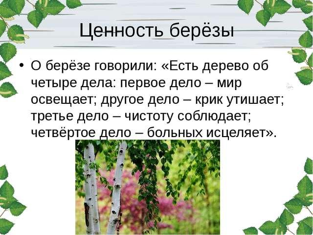 Ценность берёзы О берёзе говорили: «Есть дерево об четыре дела: первое дело –...