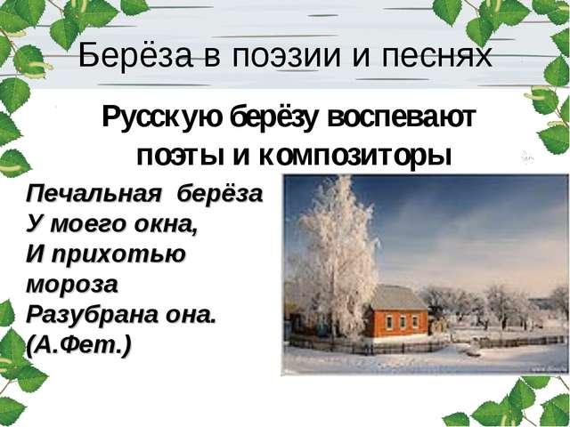 Берёза в поэзии и песнях Русскую берёзу воспевают поэты и композиторы Печальн...