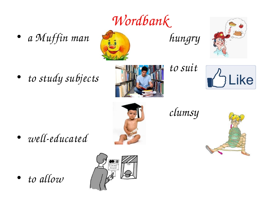 Wordbank a Muffin man to study subjects well-educated to allow hungry to suit...