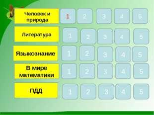 Литература Языкознание В мире математики ПДД 1 5 4 3 2 1 5 4 3 2 1 4 5 3 4 5