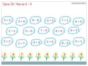 Урок 50. Числа 0 - 9 5 + 2 3 + 6 6 – 6 3 + 3 7 + 1 0 + 0 1 + 1 7 – 0 8 + 0 6