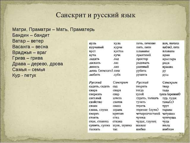 Санскрит и русский язык Матри, Праматри – Мать, Праматерь Бандин – бандит Ват...