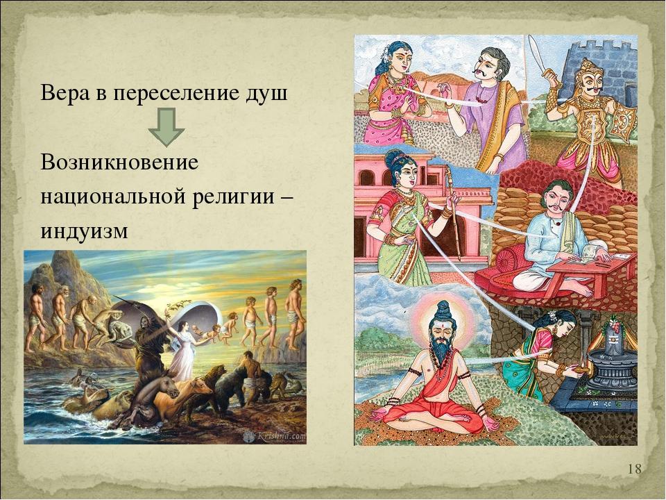 Вера в переселение душ Возникновение национальной религии – индуизм *