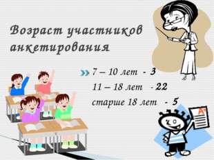 Возраст участников анкетирования 7 – 10 лет - 3 11 – 18 лет - 22 старше 18 ле