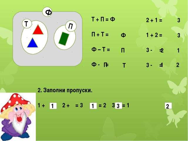 П Ф Т Т + П = Ф П + Т = Ф – Т = Ф - = 2 + 1 = 1 + 2 = 3 - = 3 - = 2. Заполни...